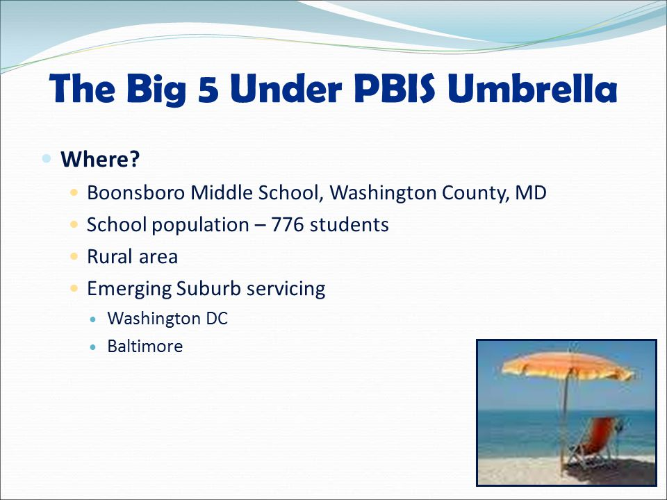 The Big 5 Under PBIS Umbrella Where.