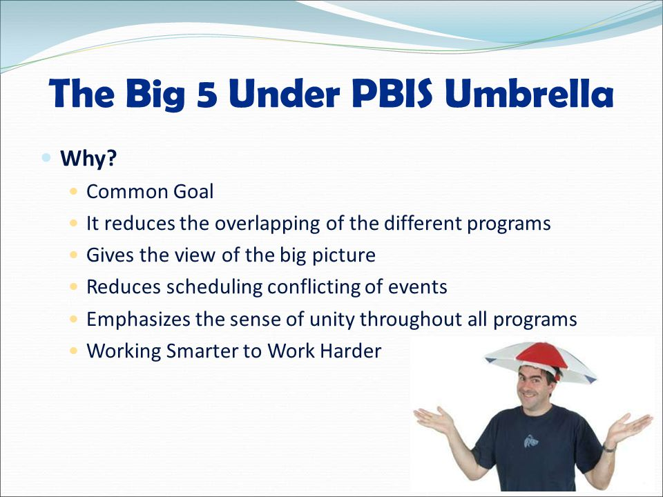 The Big 5 Under PBIS Umbrella Why.