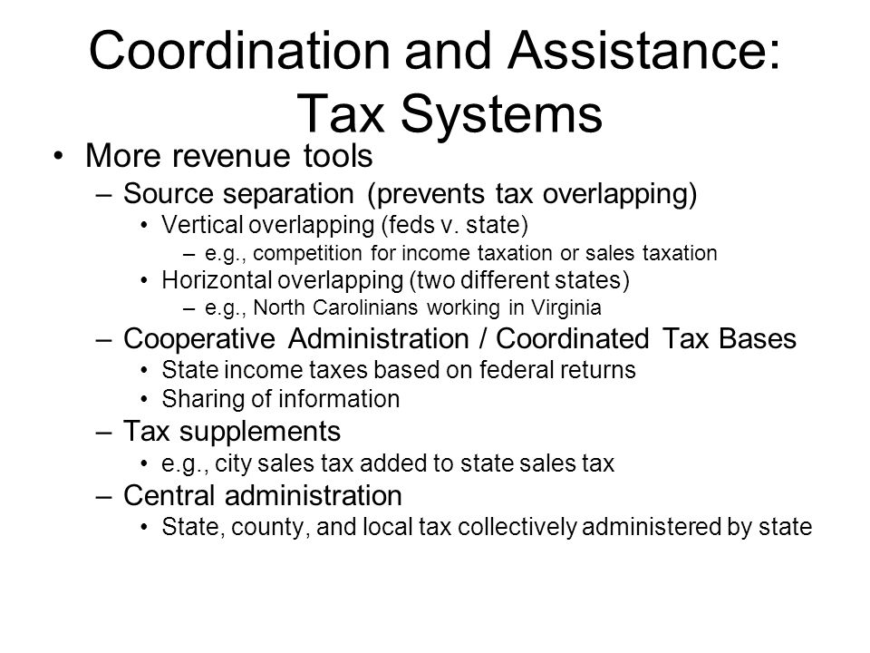 Conclusion We have a federal system with multiple levels of government Diversity allows more choice Coordination necessary because of: –Intergovernmental spillovers Spillovers occur when action by one government impacts other neighbors –Fiscal imbalance Caused by disparities in fiscal capacity Relieved by –Tax systems – Grants –Mandates