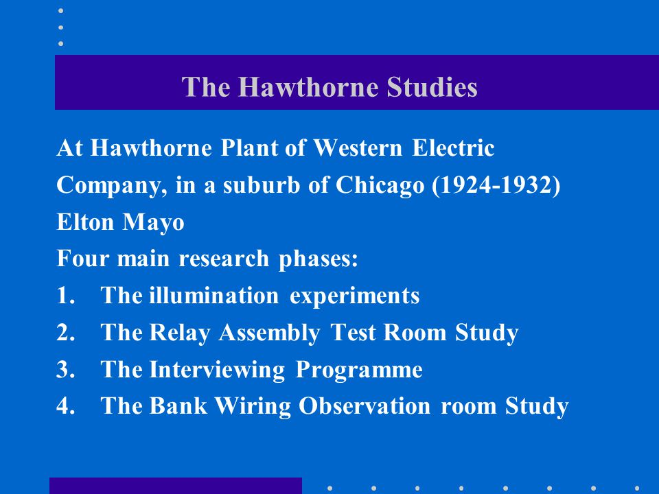 The Hawthorne Studies At Hawthorne Plant of Western Electric Company, in a suburb of Chicago (1924-1932) Elton Mayo Four main research phases: 1.The illumination experiments 2.The Relay Assembly Test Room Study 3.The Interviewing Programme 4.The Bank Wiring Observation room Study