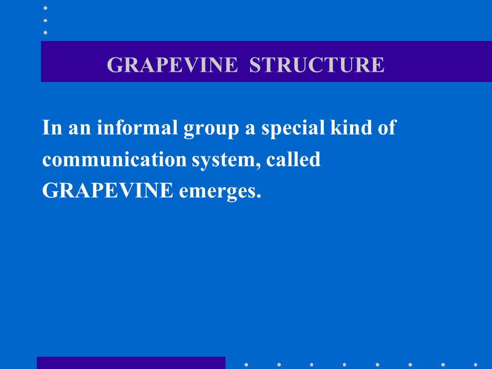 GRAPEVINE STRUCTURE In an informal group a special kind of communication system, called GRAPEVINE emerges.