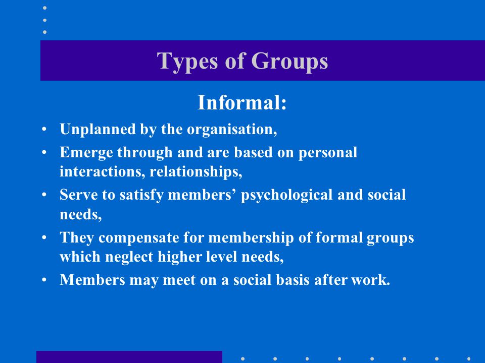 Classification scheme for types of groups