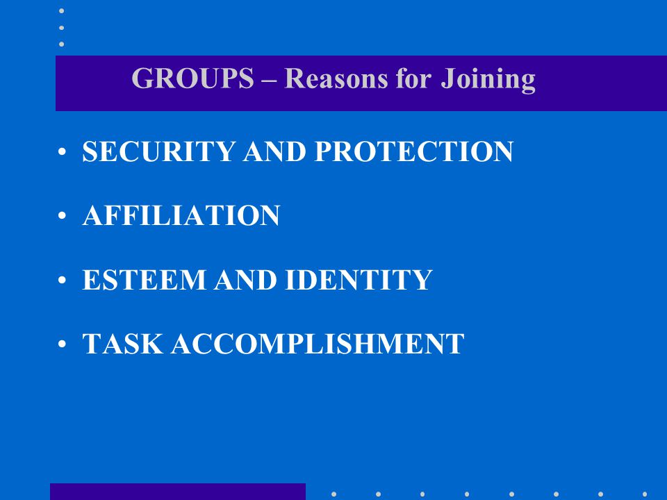 GROUPS – Reasons for Joining SECURITY AND PROTECTION AFFILIATION ESTEEM AND IDENTITY TASK ACCOMPLISHMENT