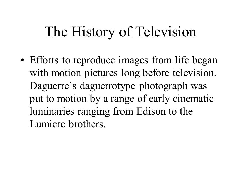 The History of Television Another Freeze on Development in 1948 –The FCC stopped issuing licenses to study video and color standards, interference, frequency allocation, and educational use.