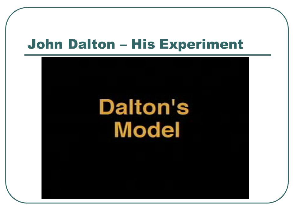 John Dalton Four points to his theory: 1.