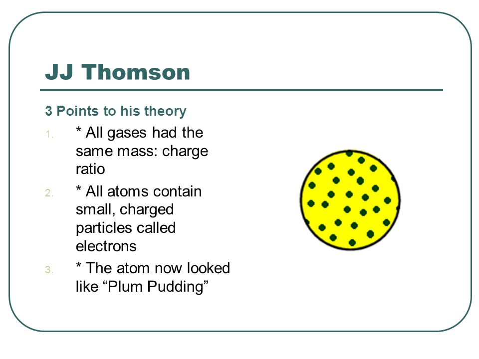 JJ Thomson 3 Points to his theory 1. * All gases had the same mass: charge ratio 2. * All atoms contain small, charged particles called electrons 3. *