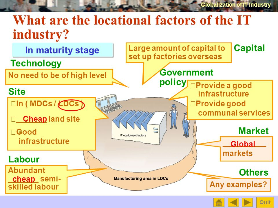 Globalization of IT Industry Quit What are the locational factors of the IT industry.