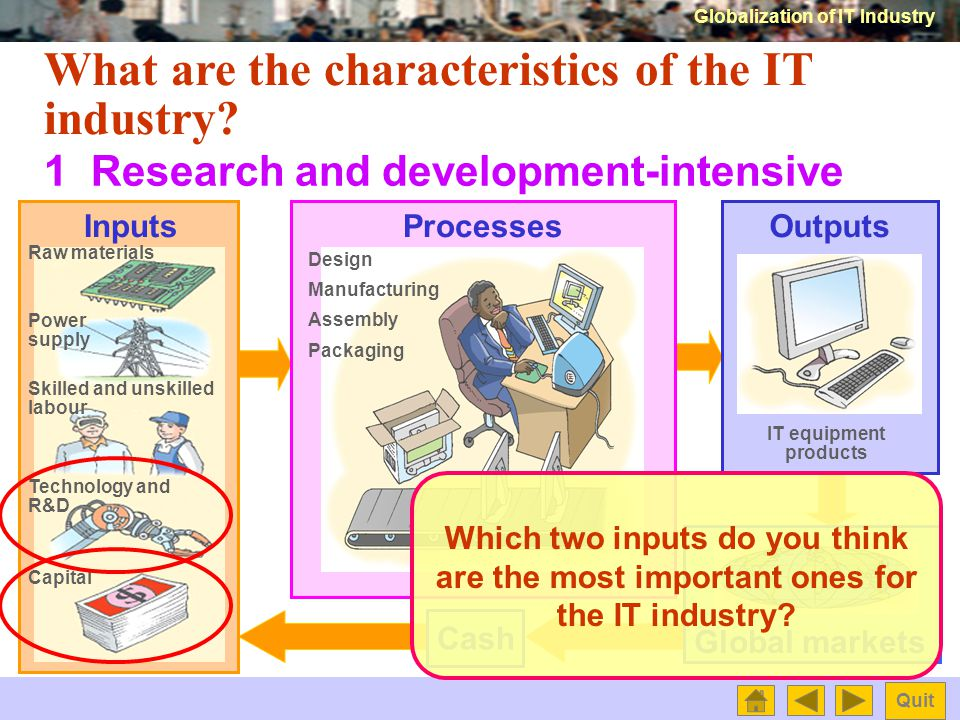 Globalization of IT Industry Quit What is the information technology (IT) industry.