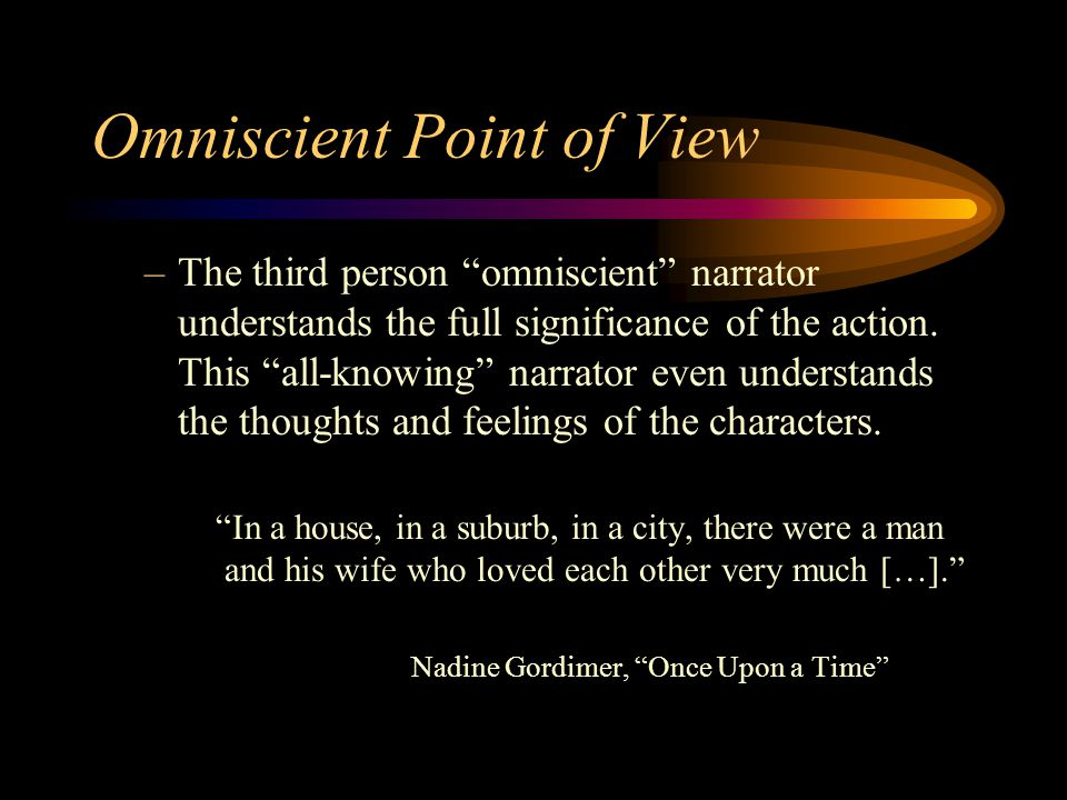 Omniscient Point of View –The third person omniscient narrator understands the full significance of the action.