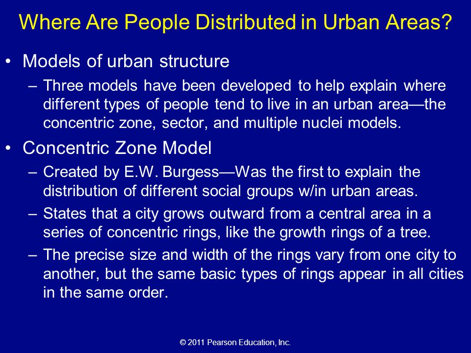 © 2011 Pearson Education, Inc.Where Are People Distributed in Urban Areas.