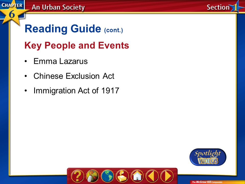 Section 1-Key Terms Key People and Events Emma Lazarus Chinese Exclusion Act Immigration Act of 1917 Reading Guide (cont.)