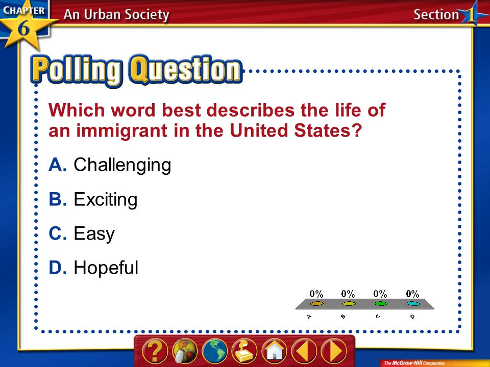 A.A B.B C.C D.D Section 1-Polling Question Which word best describes the life of an immigrant in the United States? A.Challenging B.Exciting C.Easy D.