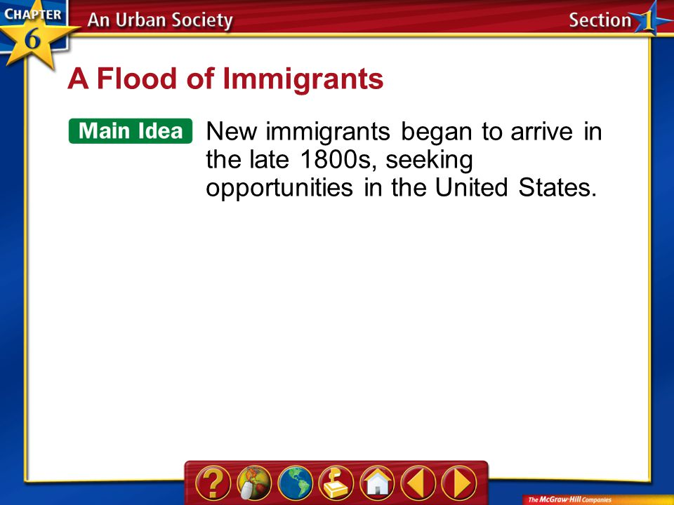 Section 1 A Flood of Immigrants New immigrants began to arrive in the late 1800s, seeking opportunities in the United States.