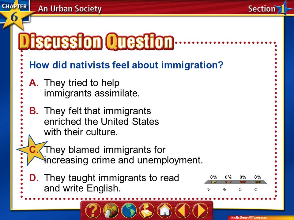 A.A B.B C.C D.D Section 1 How did nativists feel about immigration? A.They tried to help immigrants assimilate. B.They felt that immigrants enriched t