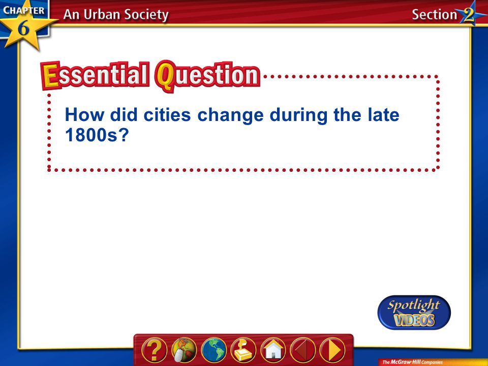 Section 2-Essential Question How did cities change during the late 1800s?