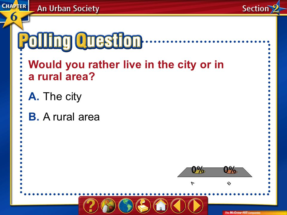 A.A B.B Section 2-Polling Question Would you rather live in the city or in a rural area? A.The city B.A rural area