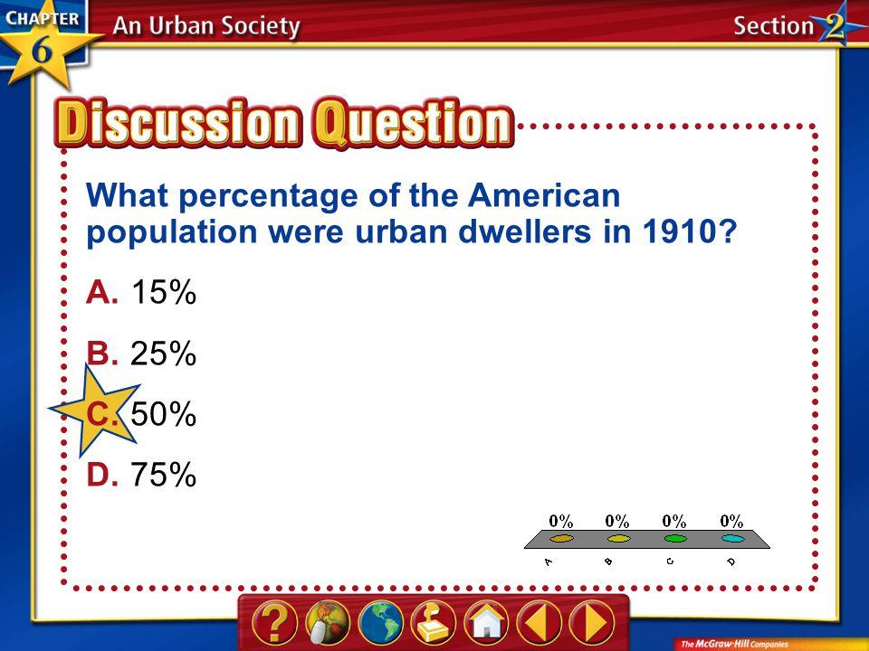 A.A B.B C.C D.D Section 2 What percentage of the American population were urban dwellers in 1910.