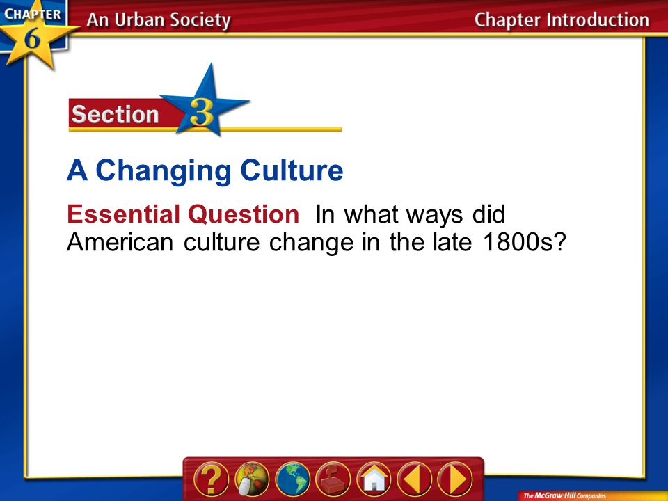 Chapter Intro A Changing Culture Essential Question In what ways did American culture change in the late 1800s?