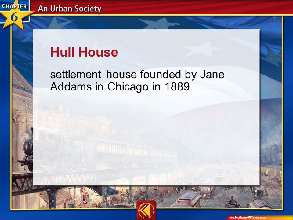 Vocab12 Hull House settlement house founded by Jane Addams in Chicago in 1889