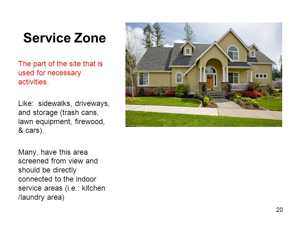 Service Zone The part of the site that is used for necessary activities. Like: sidewalks, driveways, and storage (trash cans, lawn equipment, firewood