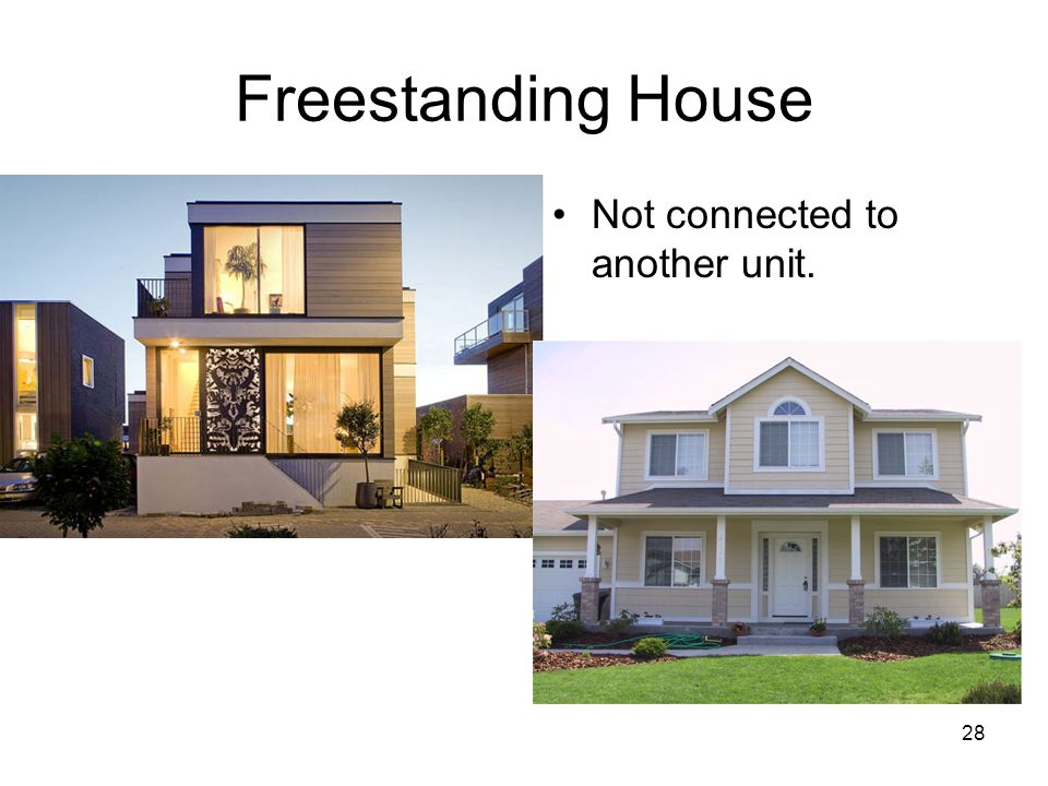 28 Freestanding House Not connected to another unit.