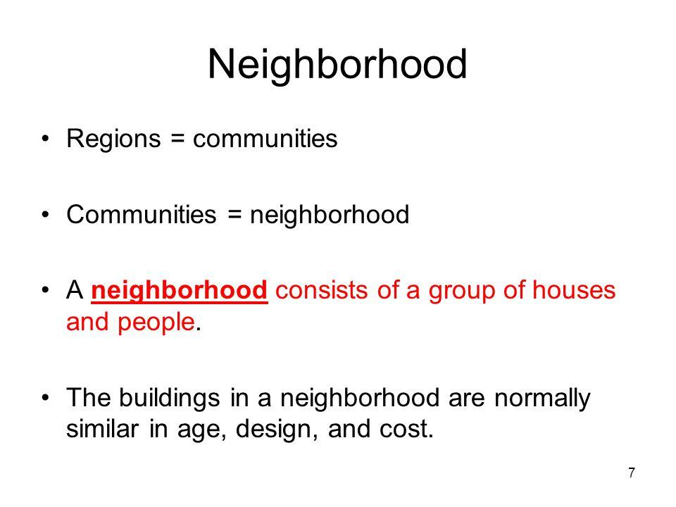 7 Neighborhood Regions = communities Communities = neighborhood A neighborhood consists of a group of houses and people. The buildings in a neighborho
