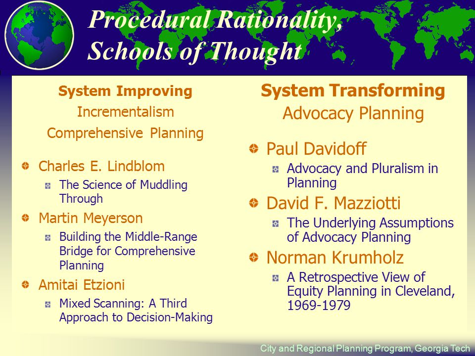 City and Regional Planning Program, Georgia Tech Procedural Rationality, Schools of Thought System Improving Incrementalism Comprehensive Planning Charles E.