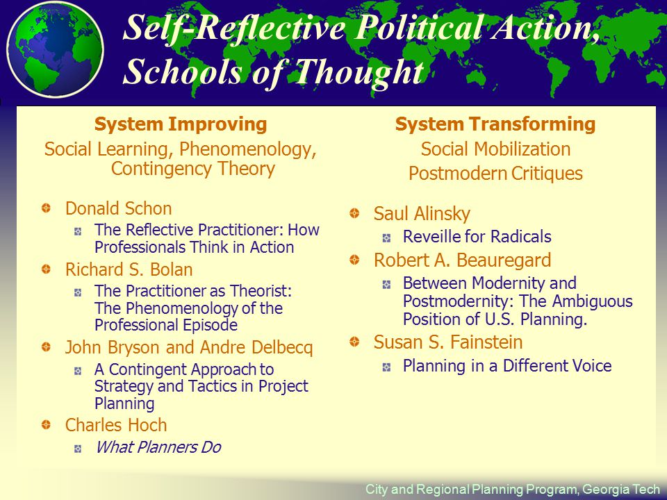 City and Regional Planning Program, Georgia Tech Self-Reflective Political Action, Schools of Thought System Improving Social Learning, Phenomenology, Contingency Theory Donald Schon The Reflective Practitioner: How Professionals Think in Action Richard S.