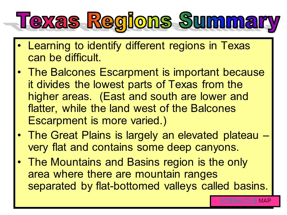 Tall mountains separated by large basins (closed valleys) Forests on mountains Lower elevations (basins) are deserts with cactus, short grasses, and s