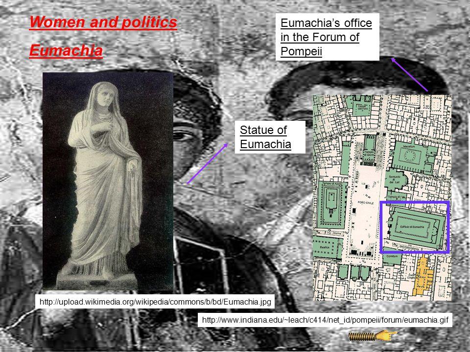 Women and politics Eumachia Eumachia's office in the Forum of Pompeii http://www.indiana.edu/~leach/c414/net_id/pompeii/forum/eumachia.gif http://uplo