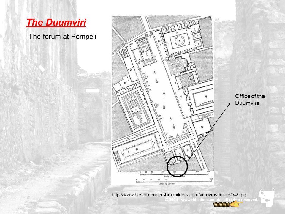 The Duumviri Office of the Duumvirs The forum at Pompeii http://www.bostonleadershipbuilders.com/vitruvius/figure/5-2.jpg