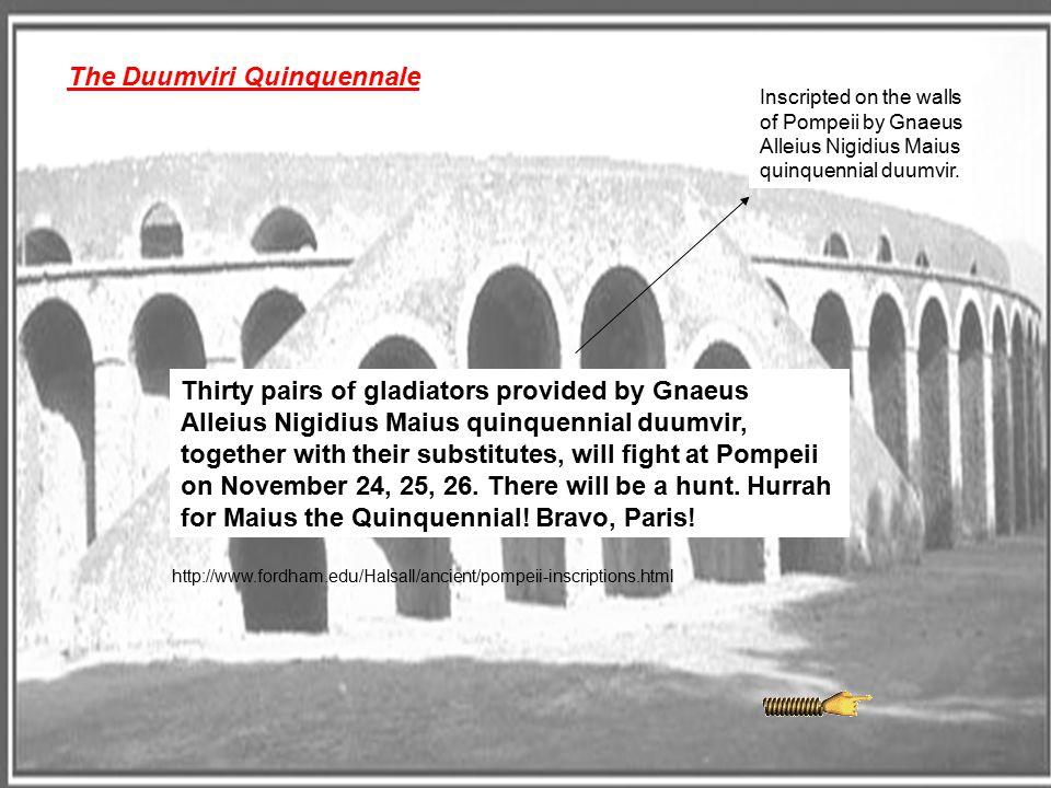 The Duumviri Quinquennale Thirty pairs of gladiators provided by Gnaeus Alleius Nigidius Maius quinquennial duumvir, together with their substitutes,