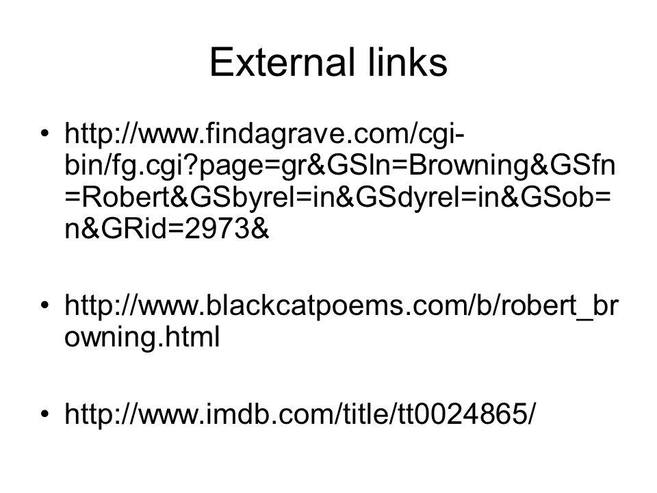 External links http://www.findagrave.com/cgi- bin/fg.cgi page=gr&GSln=Browning&GSfn =Robert&GSbyrel=in&GSdyrel=in&GSob= n&GRid=2973& http://www.blackcatpoems.com/b/robert_br owning.html http://www.imdb.com/title/tt0024865/