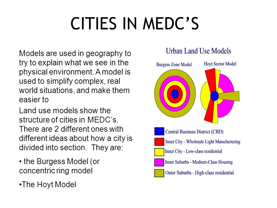 CITIES IN MEDC'S Models are used in geography to try to explain what we see in the physical environment.