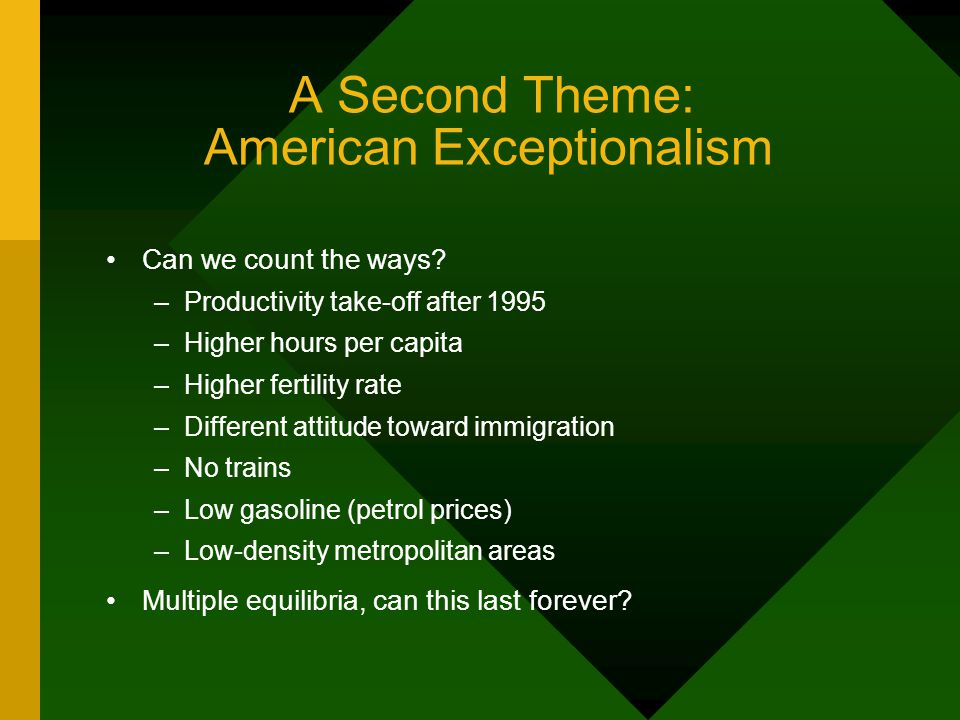 A Second Theme: American Exceptionalism Can we count the ways.