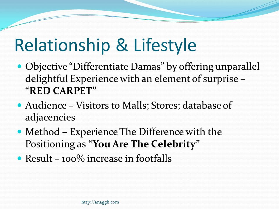 Relationship & Lifestyle Objective Differentiate Damas by offering unparallel delightful Experience with an element of surprise – RED CARPET Audience – Visitors to Malls; Stores; database of adjacencies Method – Experience The Difference with the Positioning as You Are The Celebrity Result – 100% increase in footfalls http://anaggh.com