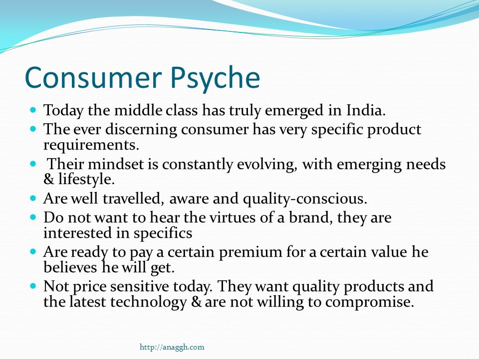 Consumer Psyche Today the middle class has truly emerged in India.
