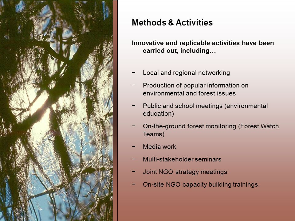 Methods & Activities Innovative and replicable activities have been carried out, including… −Local and regional networking −Production of popular information on environmental and forest issues −Public and school meetings (environmental education) −On-the-ground forest monitoring (Forest Watch Teams) −Media work −Multi-stakeholder seminars −Joint NGO strategy meetings −On-site NGO capacity building trainings.