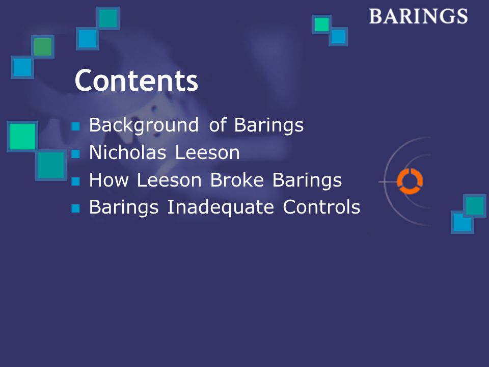 Contents Background of Barings Nicholas Leeson How Leeson Broke Barings Barings Inadequate Controls
