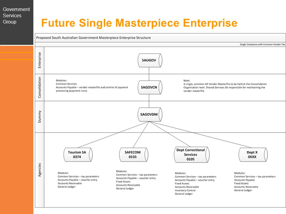 Government Services Group Single Masterpiece Enterprise Benefits of future state: –Provides infrastructure for common vendor master file –Streamlines Machinery of Government process –Lays foundation for: Further standardisation of parameters and processes Common customer master file Standardised or common chart of accounts Whole of Government consolidated reporting Streamlined Hyperion process 8