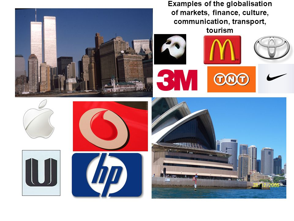 Examples of the globalisation of markets, finance, culture, communication, transport, tourism