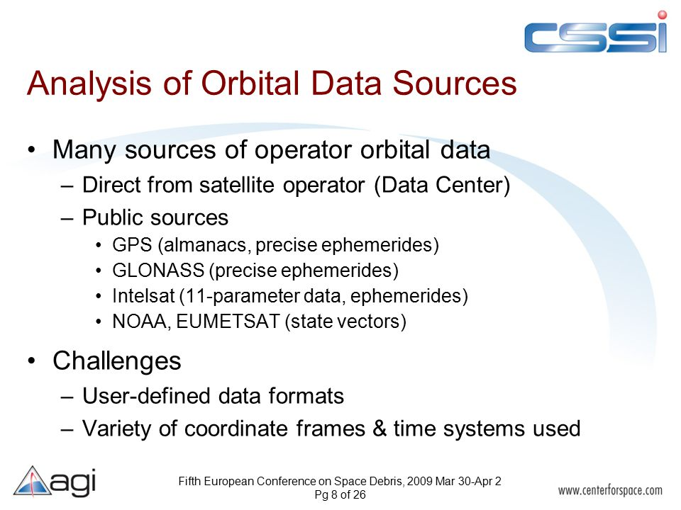 Fifth European Conference on Space Debris, 2009 Mar 30-Apr 2 Pg 8 of 26 Analysis of Orbital Data Sources Many sources of operator orbital data –Direct from satellite operator (Data Center) –Public sources GPS (almanacs, precise ephemerides) GLONASS (precise ephemerides) Intelsat (11-parameter data, ephemerides) NOAA, EUMETSAT (state vectors) Challenges –User-defined data formats –Variety of coordinate frames & time systems used