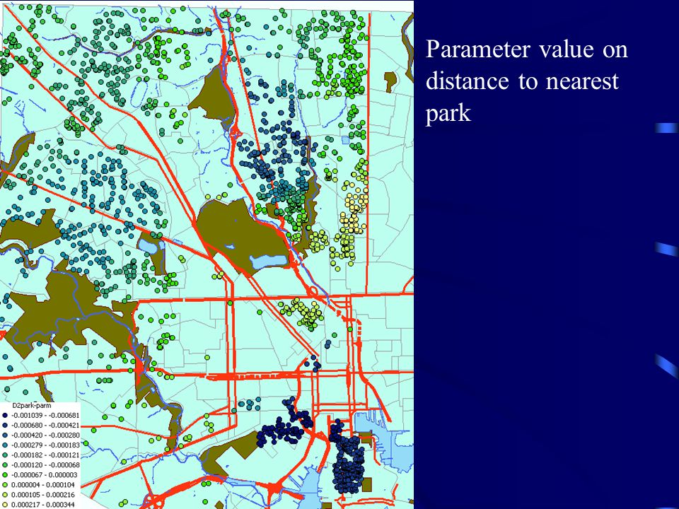 Parameter value on distance to nearest park