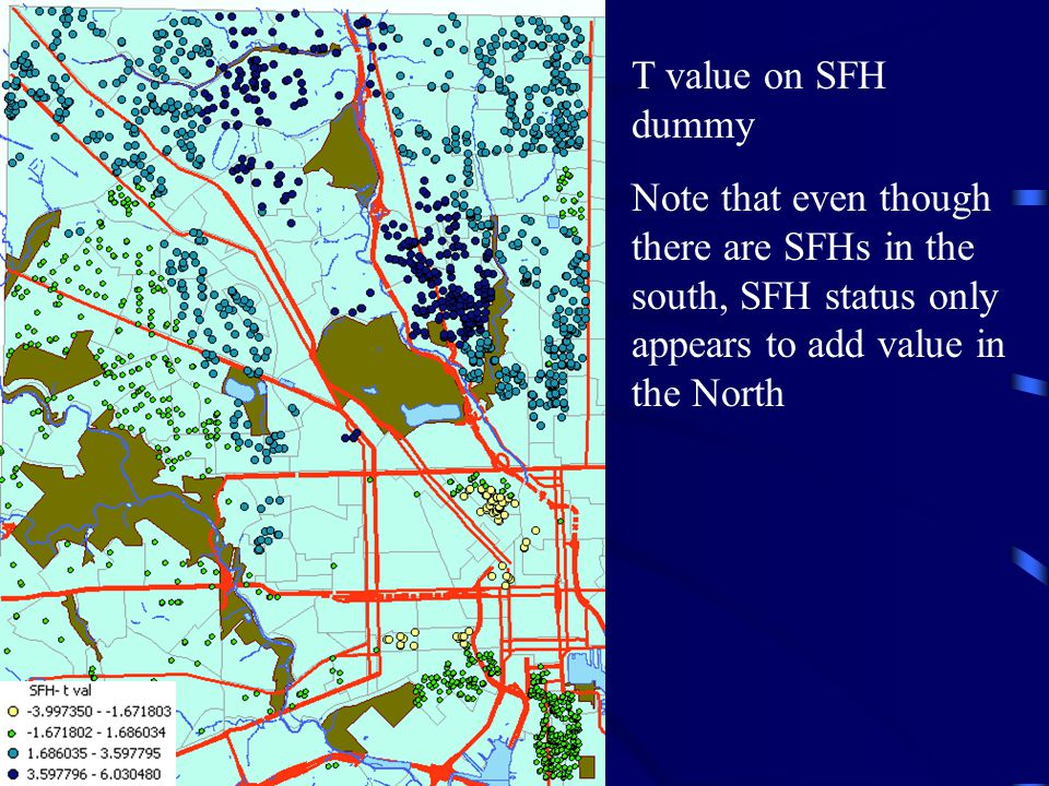 T value on SFH dummy Note that even though there are SFHs in the south, SFH status only appears to add value in the North