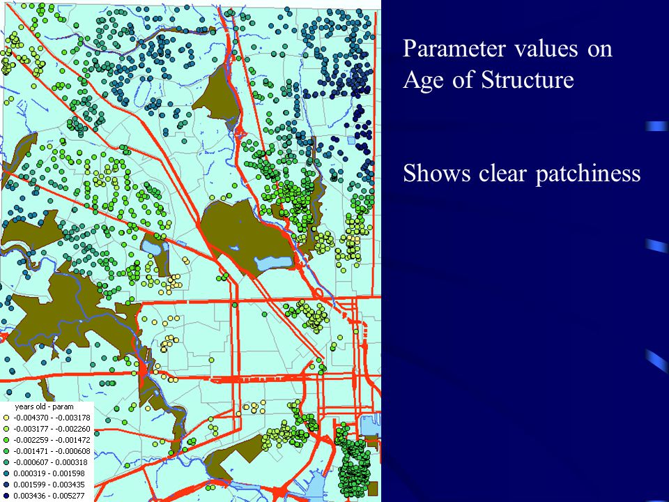 Parameter values on Age of Structure Shows clear patchiness