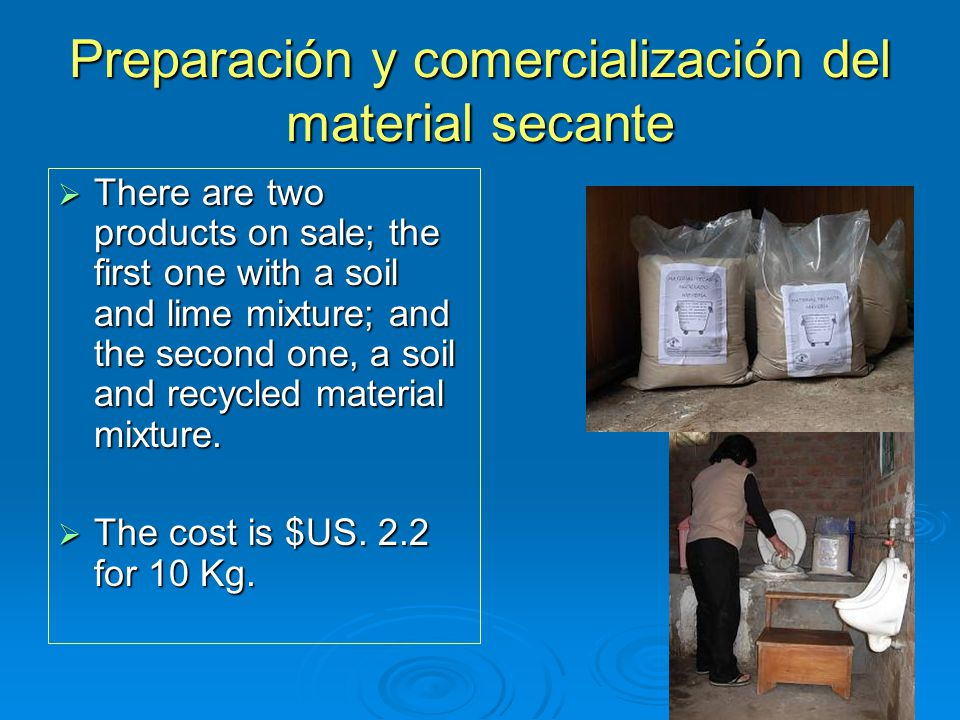 Preparación y comercialización del material secante  There are two products on sale; the first one with a soil and lime mixture; and the second one, a soil and recycled material mixture.