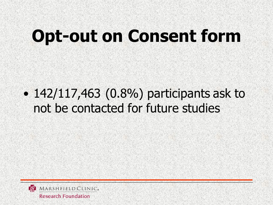 Opt-out on Consent form 142/117,463 (0.8%) participants ask to not be contacted for future studies