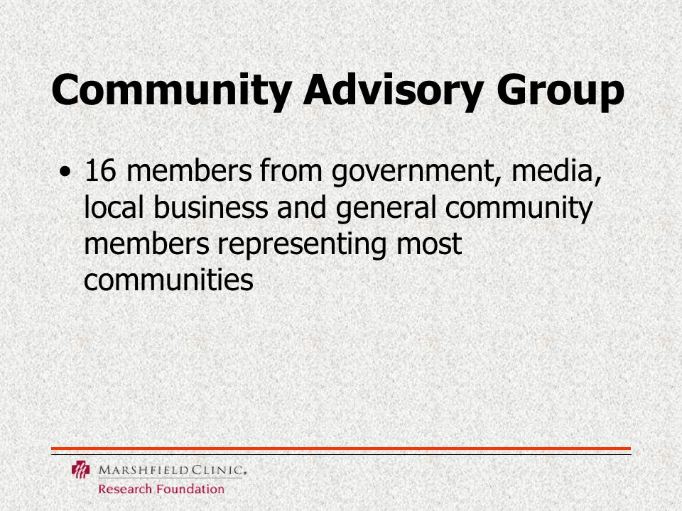 Community Consultation and Awareness Activities Focus group discussions Talks to community groups Press releases and print interviews Inserts in local newspapers Posters in Clinic and throughout communities Radio interviews