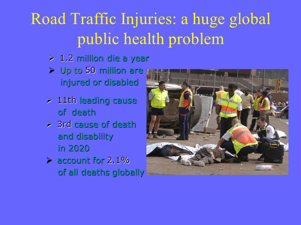 Road Traffic Injuries: a huge global public health problem  1.2 million die a year  Up to 50 million are injured or disabled injured or disabled  1