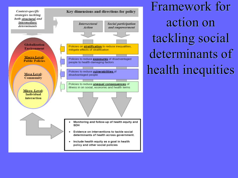Framework for action on tackling social determinants of health inequities